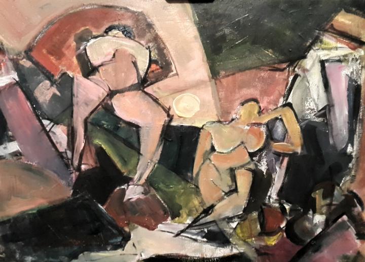 En la caverna, 2017. Acrílico sobre lienzo 65 x 46 cm