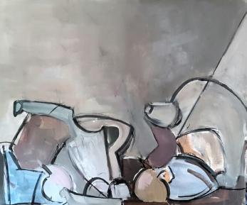 Bodegón gris, 2017. Acrílico sobre lienzo 50 x 40 cm
