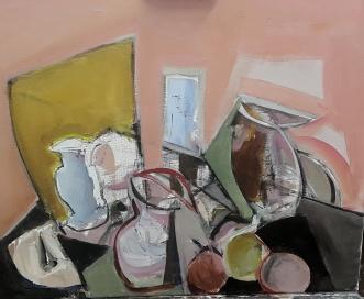 Mesa con jarra I, 2017 Acrílico sobre lienzo 61 x 50 cm