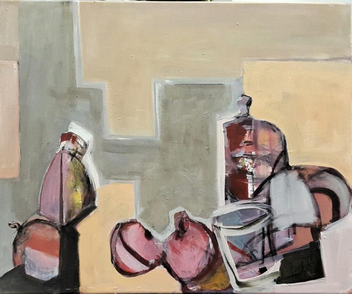 Bodegón rosa, 2017. Acrílico sobre lienzo 61 x 50 cm