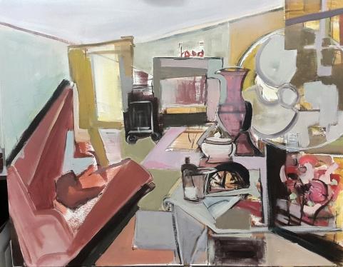 Salón, 2017. Acrílico sobre lienzo 100 x 81 cm