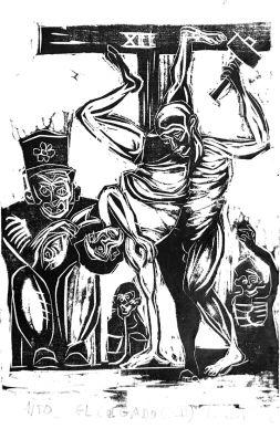 El Colgado (XII). Xilografia