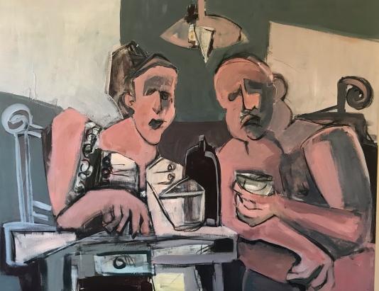 Discusión kantiana. Acrílico sobre lienzo 100 x 80 cm